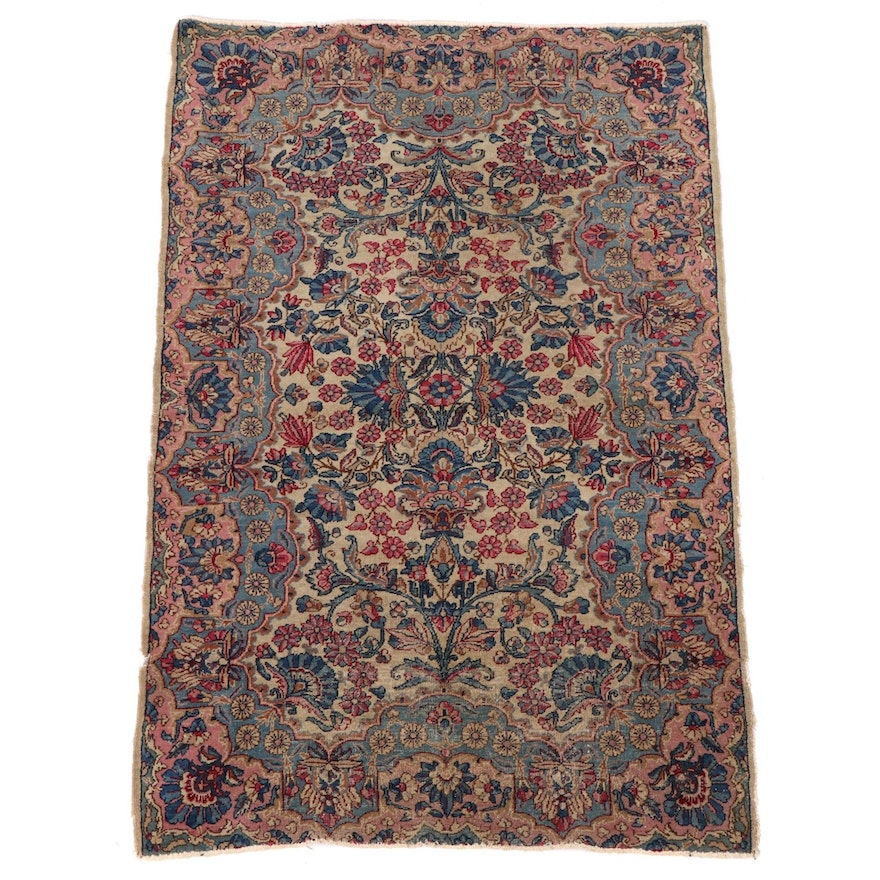 2'11 x 4'9 Hand-Knotted Persian Isfahan Wool Accent Rug