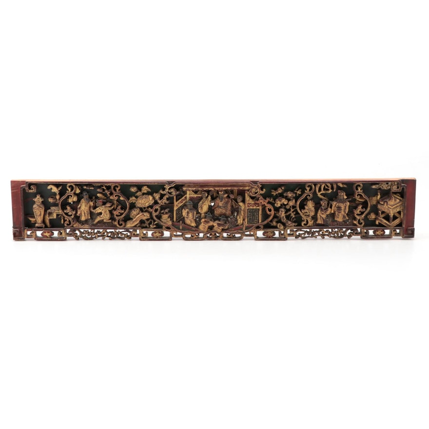 Chinese Partial Gilt and Red Lacquer Carved Wooden Panel