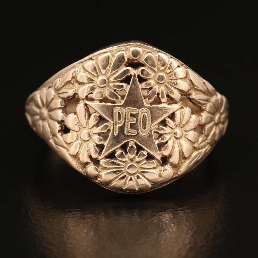 10K Commemorative Professional Employer Organizations Floral Ring