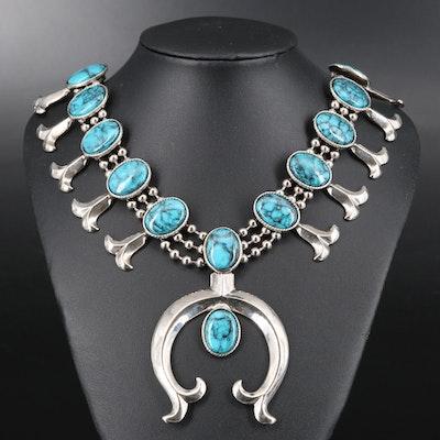 Vintage Goldette Faux Turquoise Squash Blossom Necklace