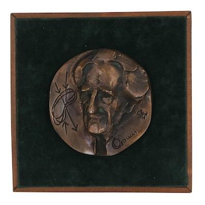 Szathmáry Gyöngyi Bronze Medallion of a Hungarian Scientist