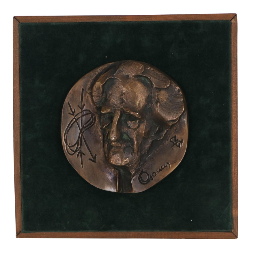 Szathmáry Gyöngyi Bronze Medallion of a Hungarian Scientist