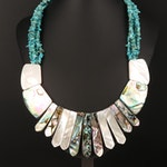 Desert Rose Trading Co Sterling Turquoise, Mother of Pearl and Abalone Necklace