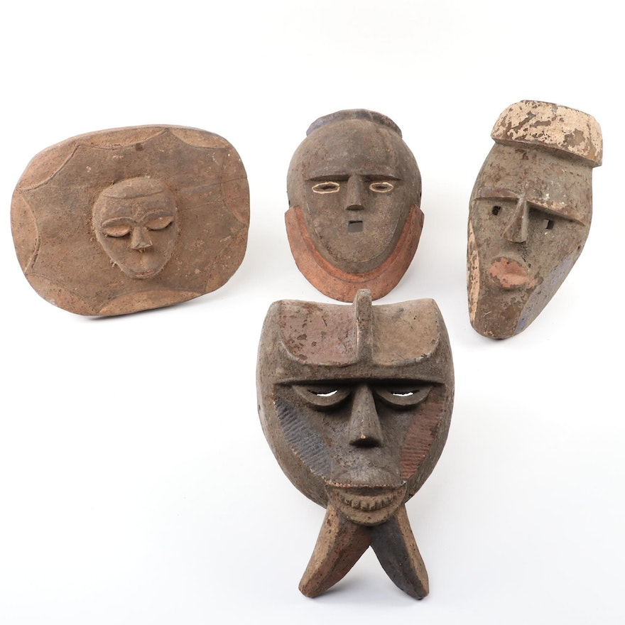 Eket Style Hand-Carved Wood Masks, West Africa