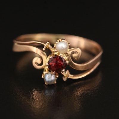 Antique Swiss 18K Garnet and Seed Pearl Ring