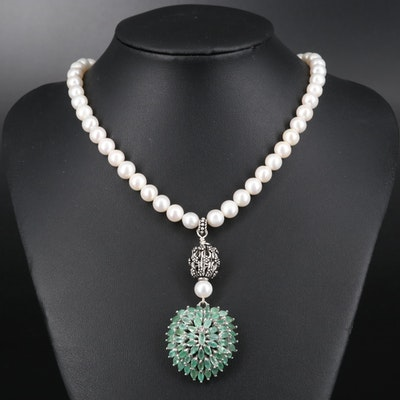 Sterling Silver Beryl and Pearl Necklace
