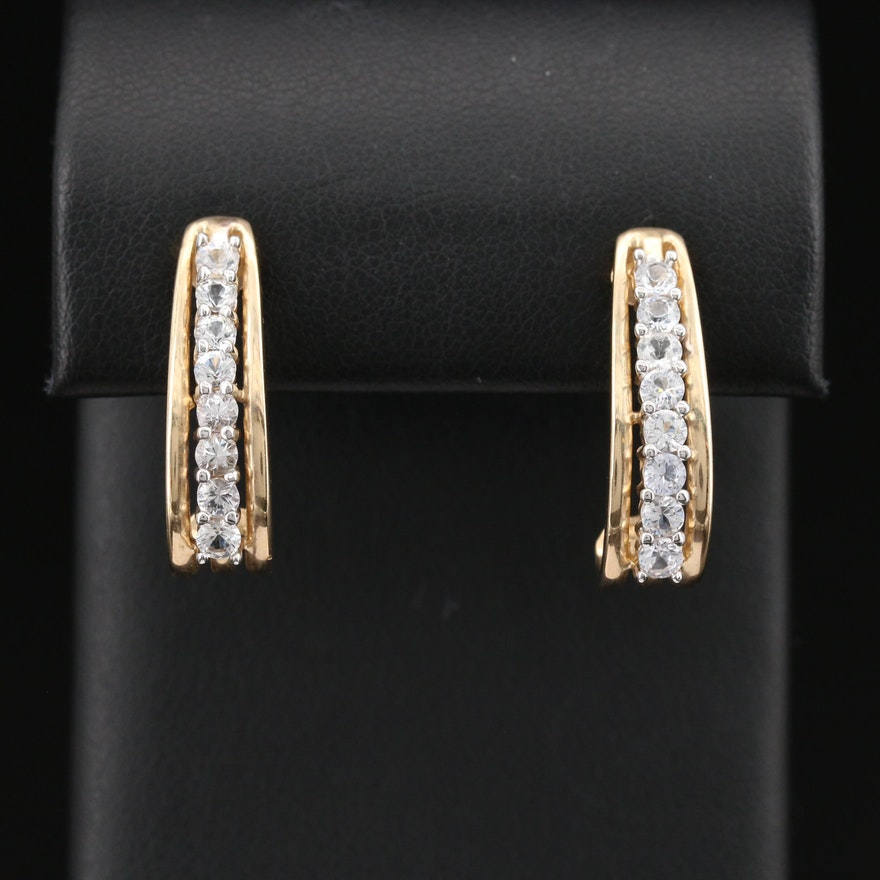 10K White Sapphire J Hoop Earrings