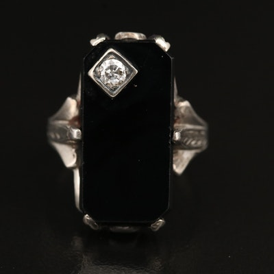 Art Deco 14K Black Onyx and Diamond Ring