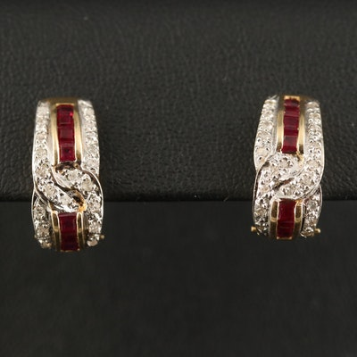 14K Ruby and Diamond J Hoop Earrings
