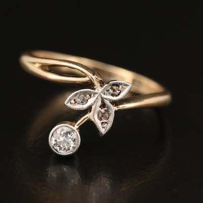 14K Diamond Foliate Ring with Platinum Accents