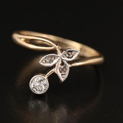 14K Diamond Foliate Ring with Platinum Accents
