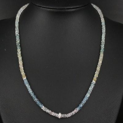 Sterling Silver Heliodor, Goshenite and Aquamarine Graduated Necklace