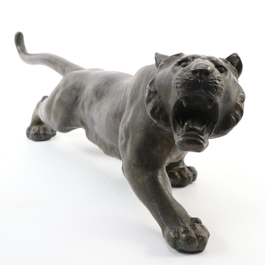 Japanese Patinated Bronze Figure of a Roaring Tiger, Late Meiji Period