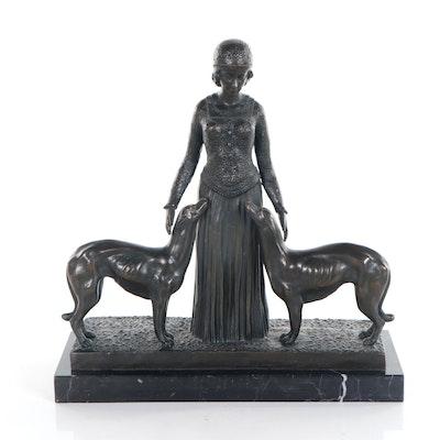 """Bronze Sculpture after Demétre Chiparus """"Les Amis Toujours"""""""