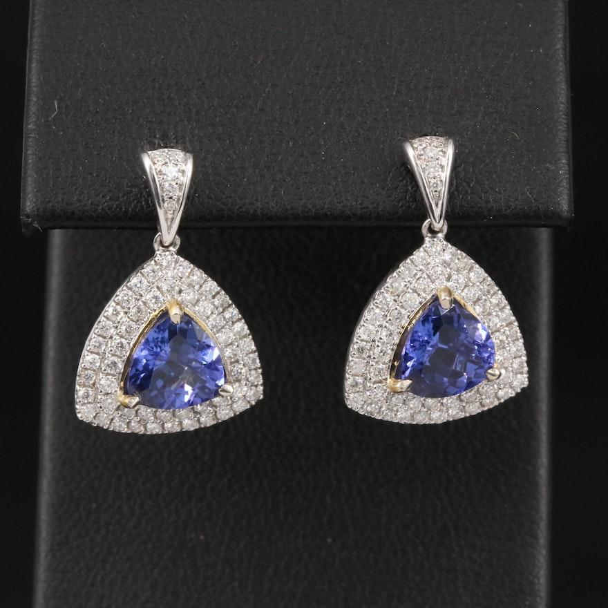14K Tanzanite and Diamond Double Halo Dangle Earrings