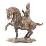 Tang Dynasty Style Cast Iron Horse and Rider Figurine