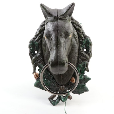 Painted Cast Iron Horse Head Door Knocker