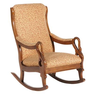 Victorian Style Maple Gooseneck Arm Rocking Chair, 20th Century