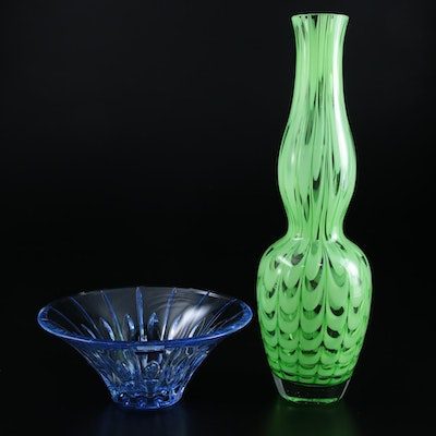 "Waterford ""Evolution"" Art Glass Vase and ""Confetti Blue"" Bowl"