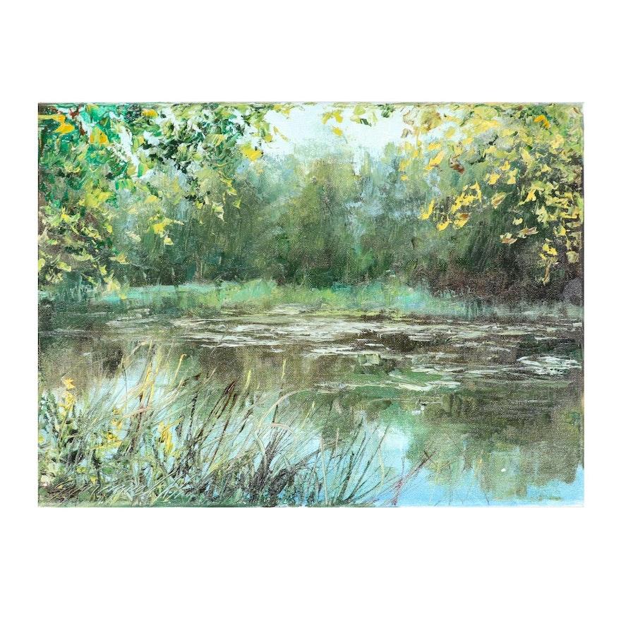 "Garncarek Aleksander Oil Painting ""Staw,"" 2020"