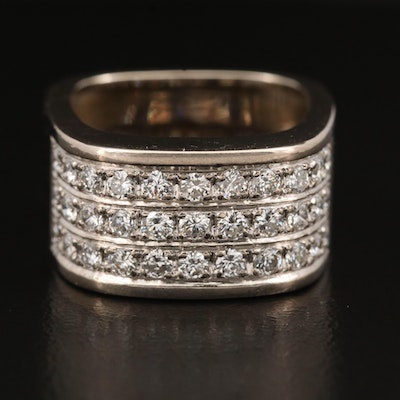 Circa 1981 Swedish 18K 1.00 CTW Diamond Multi-Row Band