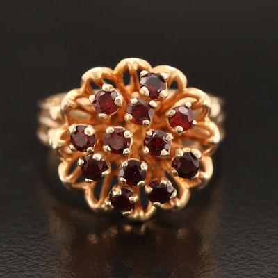 Vintage 14K Garnet Flower Ring