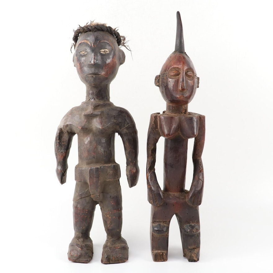 Ekoi Style Figure and Central African Style Figure