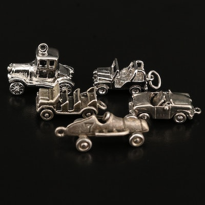 Vintage Car Themed Charm Selection Including Sterling