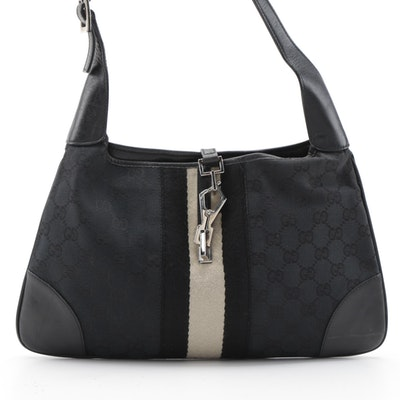 Gucci Jackie Web Shoulder Bag in Black GG Canvas and Leather