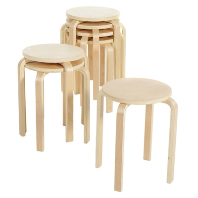 Seven Modern Molded Plywood Stools
