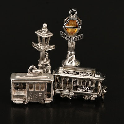 Vintage Sterling Trolley, Cable Car and Street Lamp Charms
