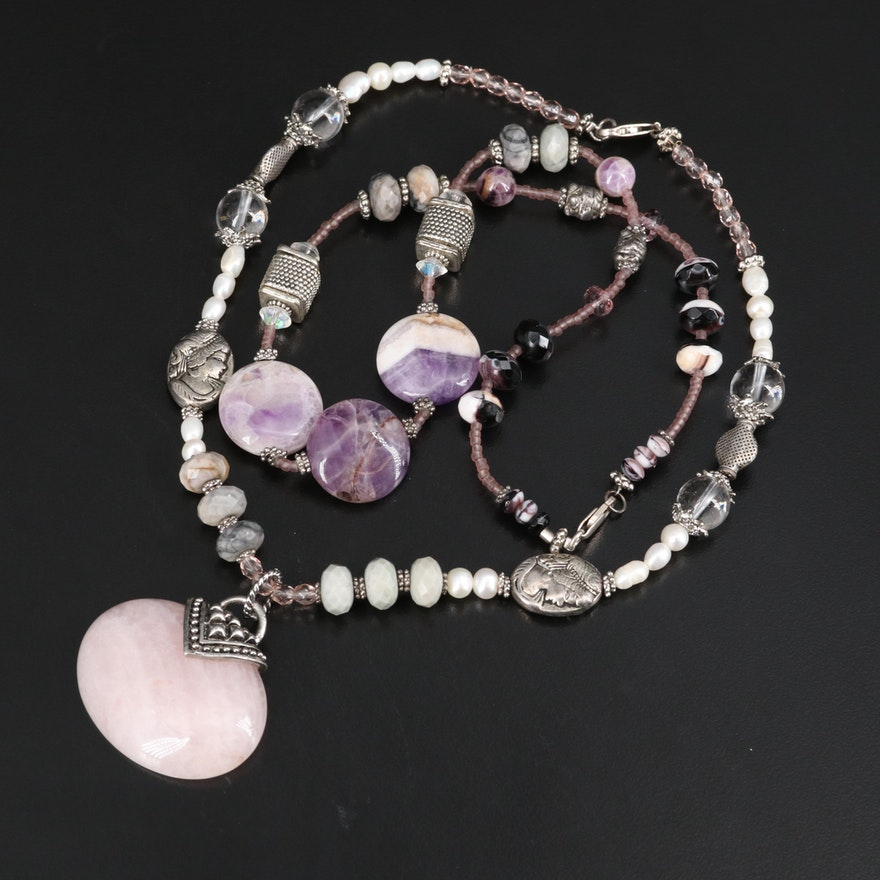 Rose Quartz, Amethyst and Pearl Necklaces with Sterling Clasp