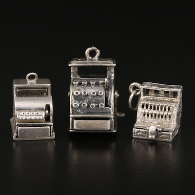 Vintage Sterling Articulated Cash Register Charms