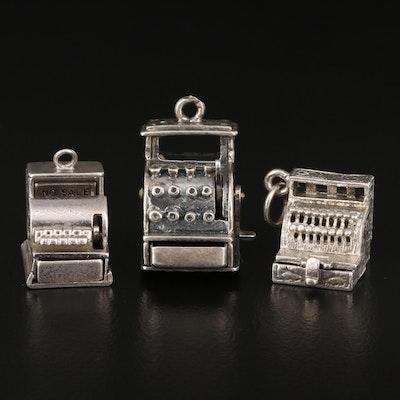 Vintage Sterling Articulated Cash Register Charms