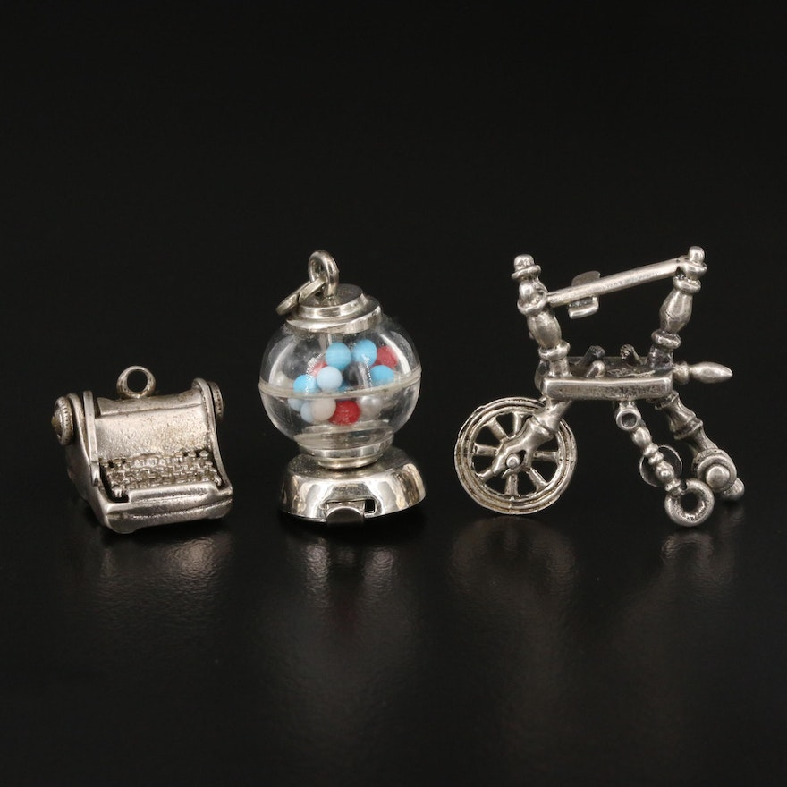 Vintage Articulated Sterling Charms Featuring Gumball Machine