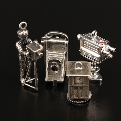 Media Themed Charms Including Television, Cameraman and Sterling