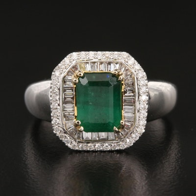 14K 1.40 CT Emerald and Diamond Ring