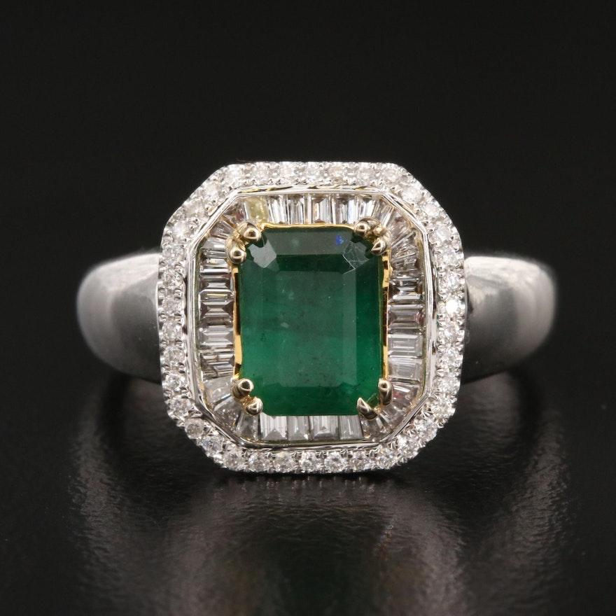 14K 1.40 CT Emerald and Diamond Ring