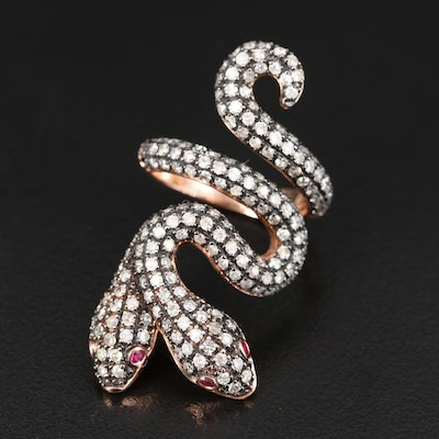 14K 2.29 CTW Diamond and Ruby Double Headed Snake Ring