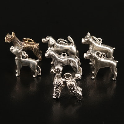 Dog Charm Selection featuring Standard Poodle, Scottish Terrier, Boxer and Hound