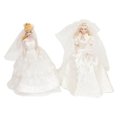 "Mattel ""Star Lily Bride"" and ""Wedding Party"" Porcelain Barbie Dolls"