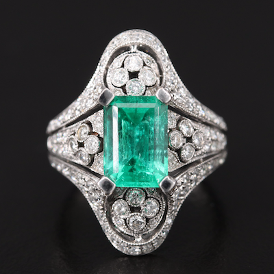 18K 2.68 CT Emerald and 1.33 CTW Pavé Diamond Ring with Migraine Detail