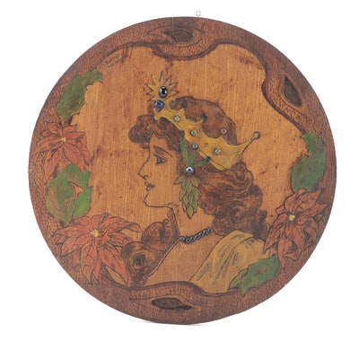Flemish Art Company Art Nouveau Carved Pyrography Plaque