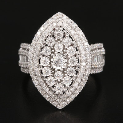 14K 1.45 CTW Diamond Navette Cluster Ring