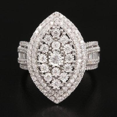 14K 1.45 CTW Diamond Navette Cluster Ring