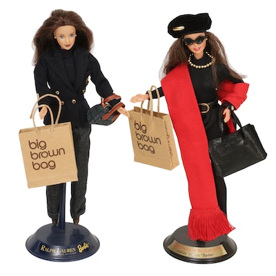 Ralph Lauren and Donna Karan for Mattel Barbie Dolls on Stands