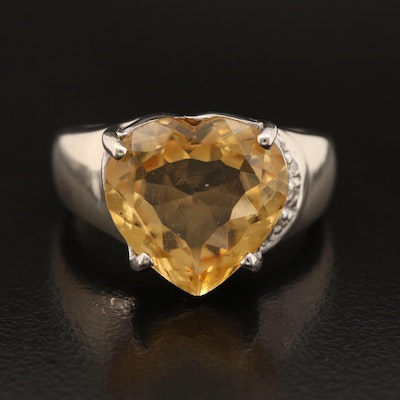 10K Citrine and Diamond Heart Ring