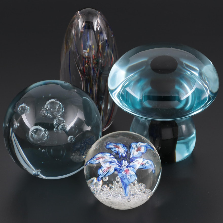 Art Glass Floral and Mushroom Form Paperweights with Others