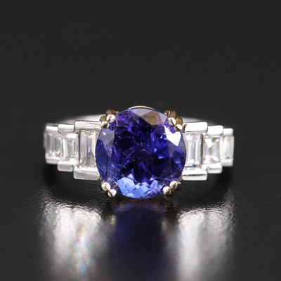 14K Gold 3.91 CT Tanzanite and Diamond Ring
