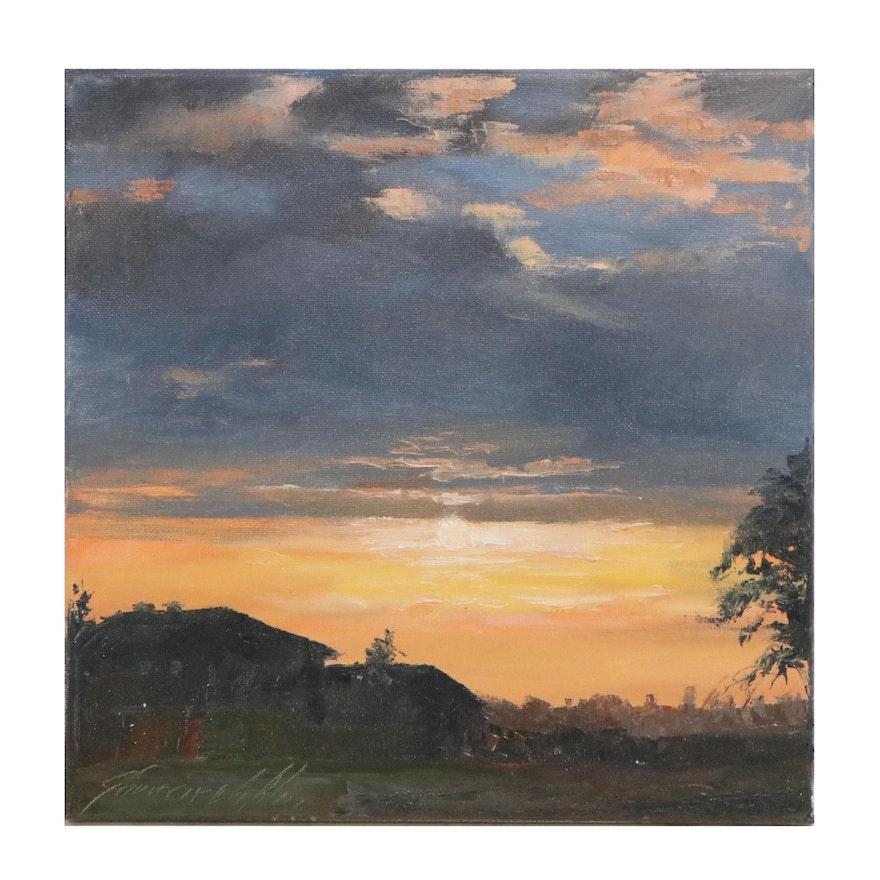 """Garncarek Aleksander Oil Painting """"Sunset"""""""